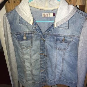 Jean jacket is soft fabric sleeves